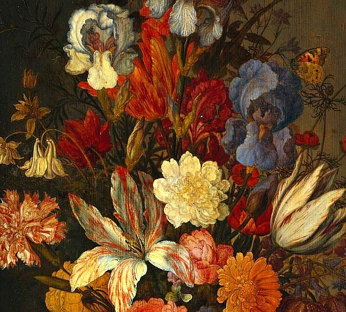 stilllifequickheart:   Balthasar van der Ast Still Life with Flowers, detail 17th century