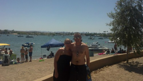 Me and my sister down by the Lake Havasu canal.  Shit is crazy down here!  Ouff I need to hit the gym, though /:
