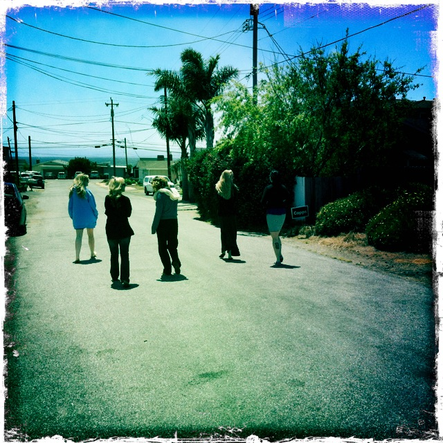 More from this weekend: the girls headed down for a walk along Cayucos Beach.
