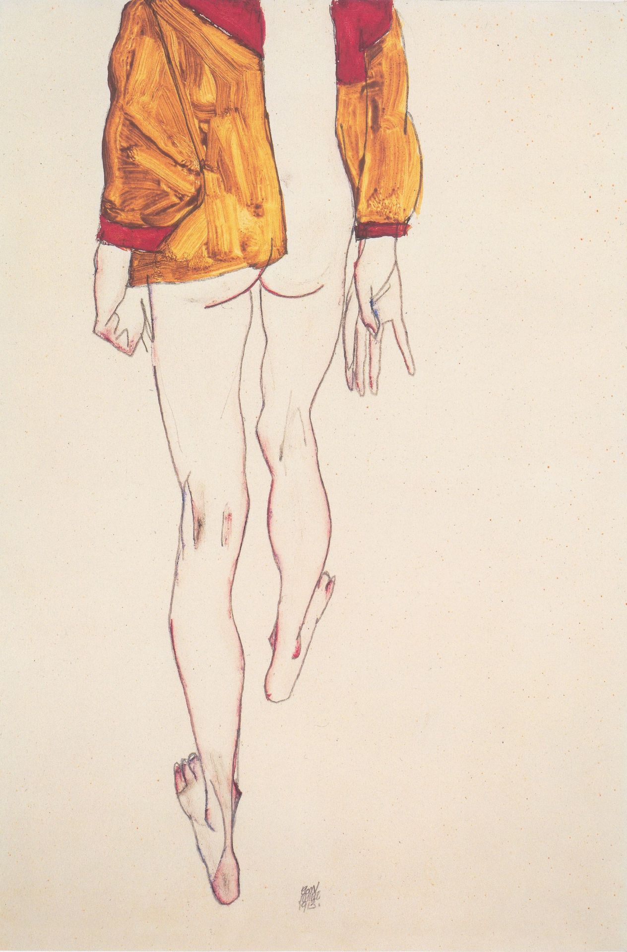 descroissants:  Standing half nude with a brown shirt Egon Schiele, 1913