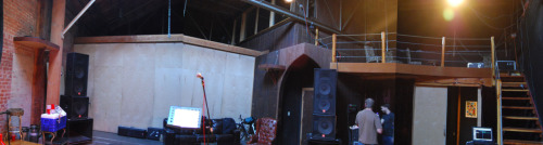 A panoramic photo collage of the stage room at Soundwave Studios in Oakland before our show on May 25th taken by Chris Frakes