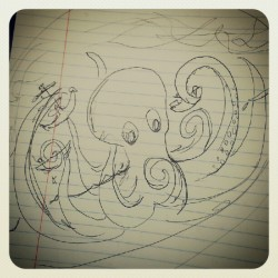 Concept for a table painting. #doodle #octopus #scribble  (Taken with instagram)
