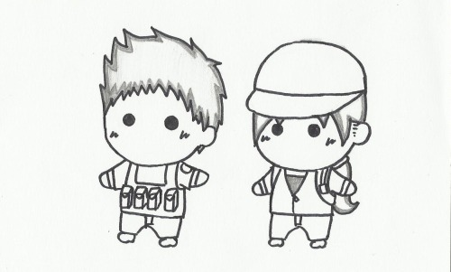 Chris Redfield & Jill Valentine Lost In Nightmare Chibi   I DON'T KNOW WHY, BUT I LIKE THIS PAIR SO MUCH.. This picture dedicated to them. (^__^) By : Brigitta Aprilia