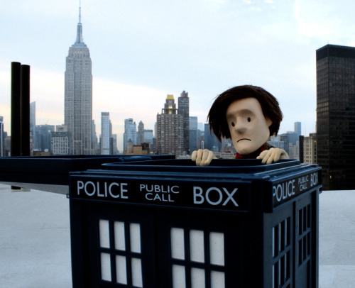 The folks at Tor.com saw the TARDIS up on the roof of the Flatiron Building and invited me to check it out. I climbed all the way up, but when I got to the TARDIS I discovered that it was just… a BISCUIT TIN!!! And there weren't even any Jammie Dodgers in it! So cruel. At least I got to see some amazing views of the New York skyline, especially the Empire State Building. Afterwards I even got a tour inside the Flatiron Building. Check back soon for those pictures!