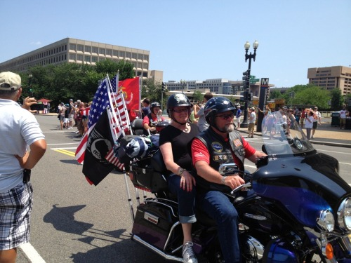 Rolling Thunder. How many bikers did I see today, without seeing one couple with the woman driving the man?