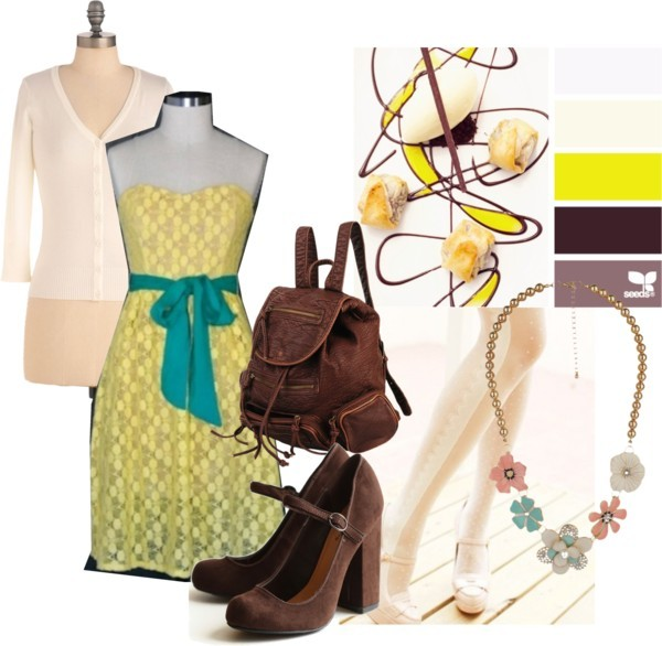 Color Desserts by margaretfrench featuring a backpack bag Ivory cardigan, $35Shoes, $39Forever 21 backpack bag, $35Forever 21 beaded jewelry, $15French Romantic Tights - Accessory - Retro, Indie and Unique Fashion, $16   Color palette sourced from the amazing website design seeds