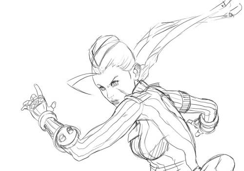 WIP sketch of Cammy done before heading to bed.