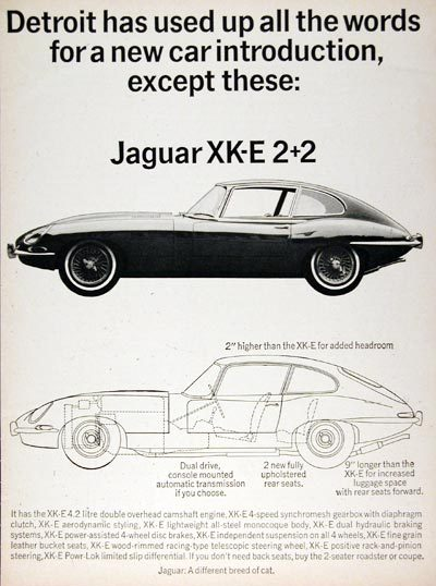 Jaguar: A different breed of cat. 1966 ad campaign.