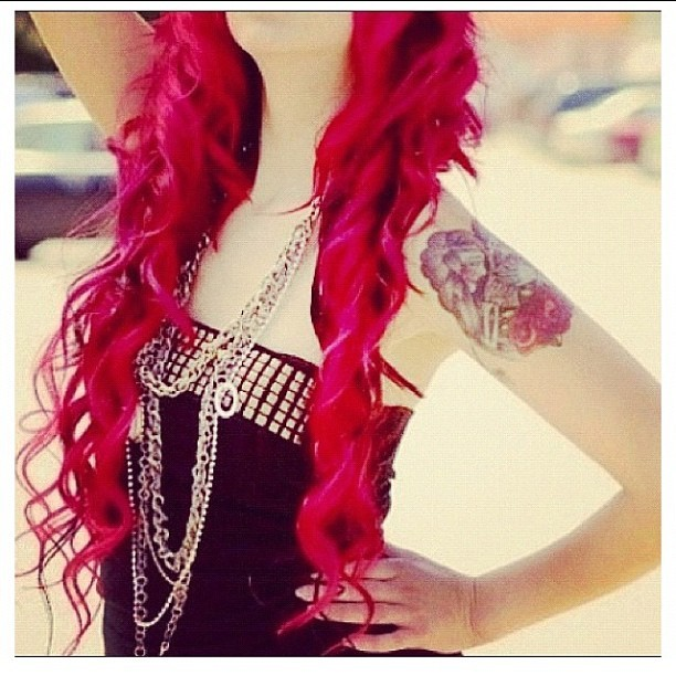 #red #hairstyle #curly #girl #accessories #necklace #layered #tattoo #unique  (Taken with instagram)
