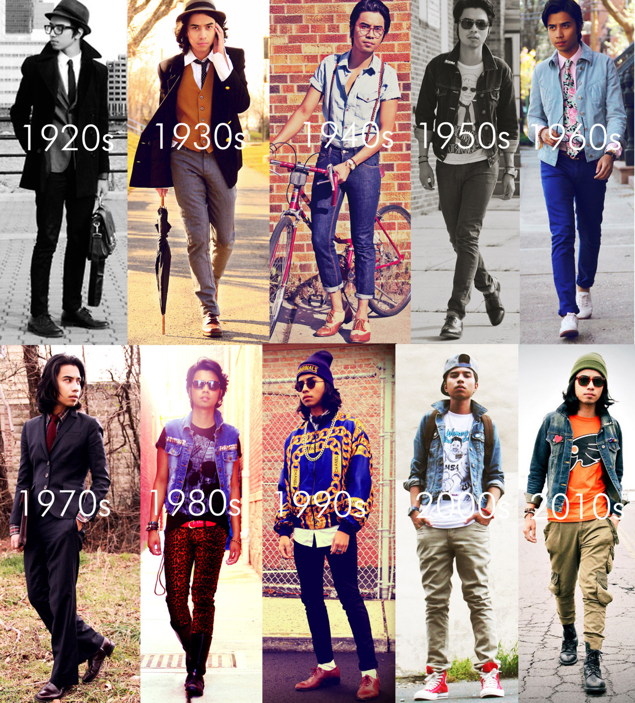 dennysworld:  One man. An outfit for every decade with a modern twist. I've been posting my daily outfit for 2 1/2 years now. Within these 2 years I've worked with gap, h&m, dr.martens, diesel etc. I also became number one male on lookbook.nu, gained countless followers and finally it all came full circle when I landed a job as Wyclef Jean's personal stylist. I couldn't attend college because of financial problems but my dream still became a reality because I stayed true to myself and believed that if I just keep on grinding, good things will happen. Just be you, that's all. Once you start worrying about what people say about you…you start to listen to them and you forget to be yourself. In the end, your opinion should be the last say. Keep it real. - Denny Follow me on instagram @denny623