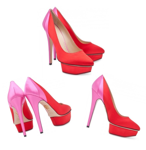 Charlotte Olympia Masako bi-colour satin pumps These heels are so amazing.  I love the combination of red and pink.