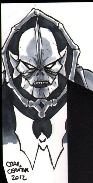 Hordak (a Masters of the Universe character) head-sketch done for someone's copy of The Vitruvian Underground. I had offered free sketches to the first ten people to buy a copy and those slots have been filled. I did additional ones for those who bought more than one copy, so thank you to those who did! You can read a good chunk of the book here: http://www.vitruvianunderground.com/index/webcomic.html  And buy it here: http://clubchevon.bigcartel.com/ Only $3!