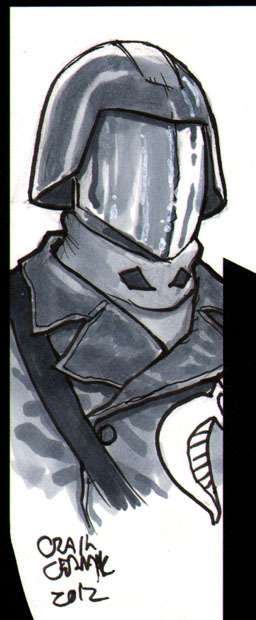 Cobra Commander head-sketch done for someone's copy of The Vitruvian Underground. I had offered free sketches to the first ten people to buy a copy and those slots have been filled. I did additional ones for those who bought more than one copy, so thank you to those who did! You can read a good chunk of the book here: http://www.vitruvianunderground.com/index/webcomic.html  And buy it here: http://clubchevon.bigcartel.com/ Only $3!