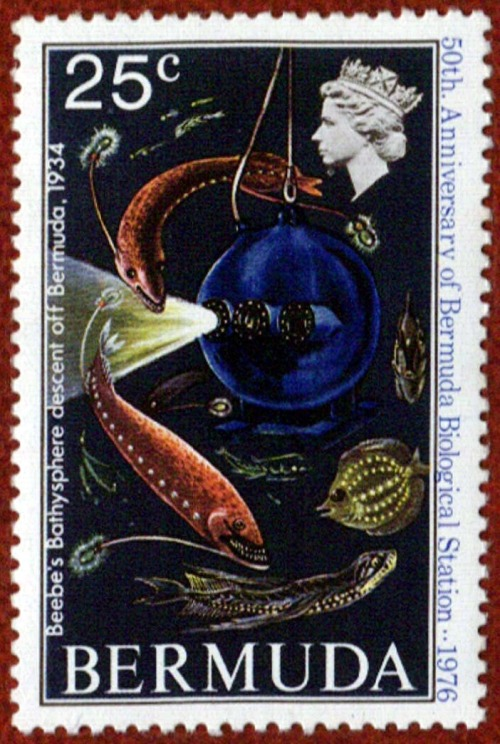 This postage stamp commemorates William Beebe's 1934 descent in the bathysphere, and pictures deep sea fish that he reported seeing. Since Beebe was unable to collect specimens, the existence of some of these fish remains controversial.