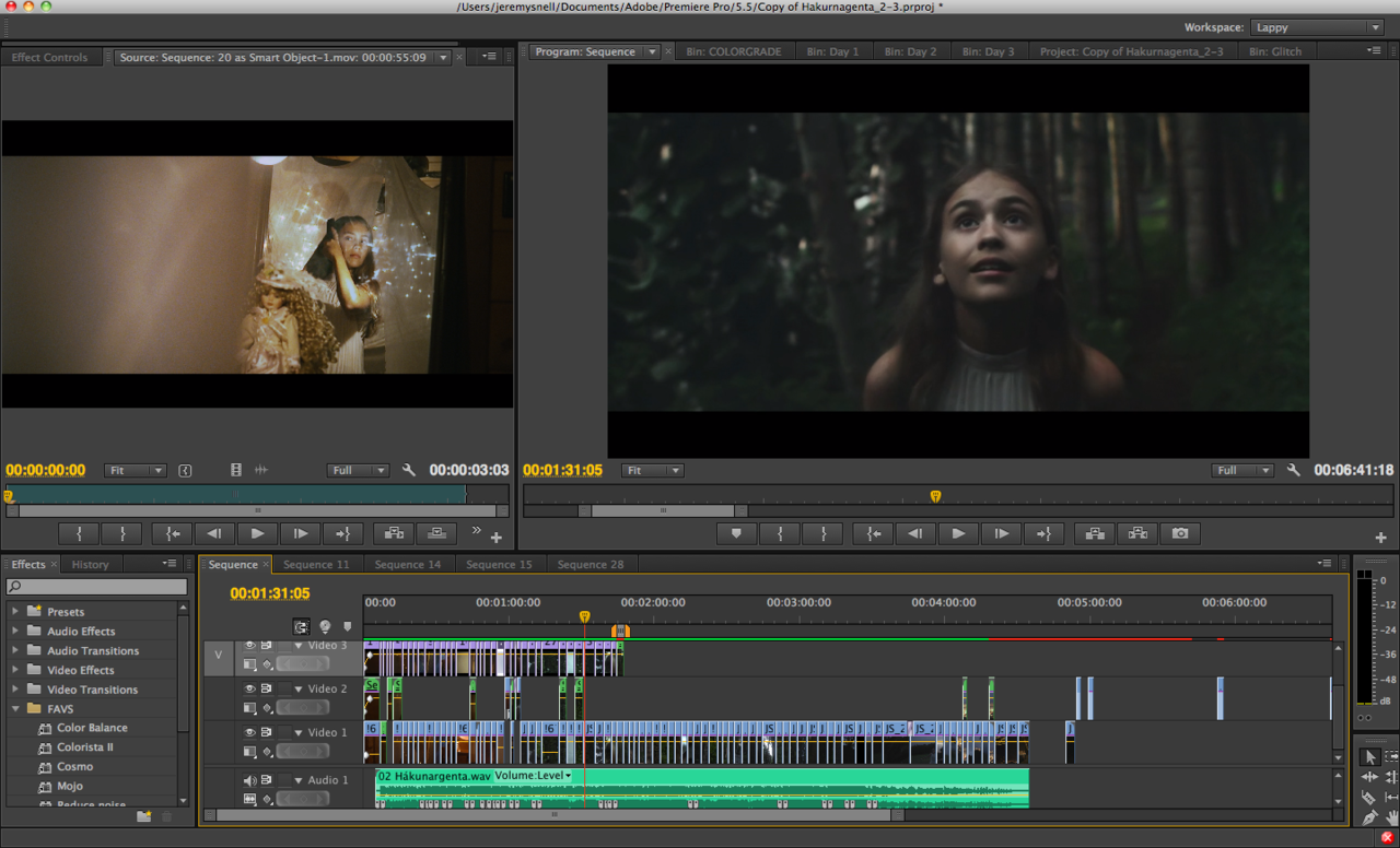 About half-way done colorgrading this music video. (: Really stoked on this one.Stay tuned. #colorist #CS6