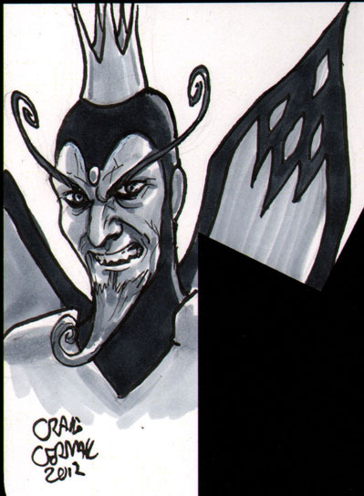Monarch from Venture Bros head-sketch done for someone's copy of The Vitruvian Underground. I had offered free sketches to the first ten people to buy a copy and those slots have been filled. I did additional ones for those who bought more than one copy, so thank you to those who did! You can read a good chunk of the book here: http://www.vitruvianunderground.com/index/webcomic.html  And buy it here: http://clubchevon.bigcartel.com/ Only $3!