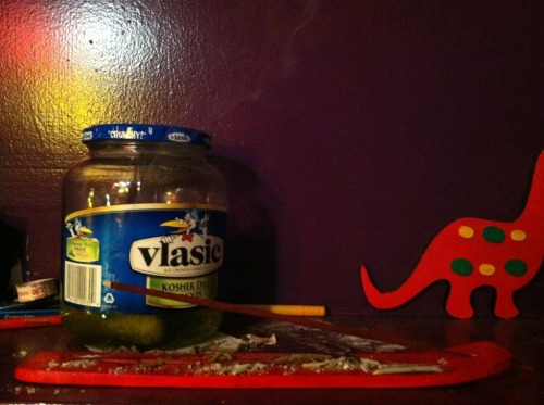 This is what tonight has been reduced to - pickles and incense. Just back the fuck off.