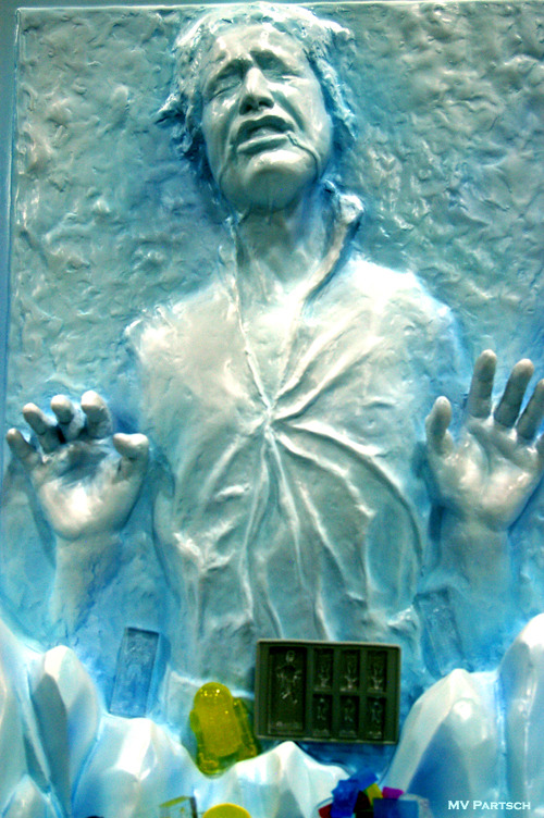 Han Solo Frozen in Carbonite Ice Cube Trays: Perfect Hibernation! Comic-Con. San Diego. 2011. Kotobukiya Pavilion.
