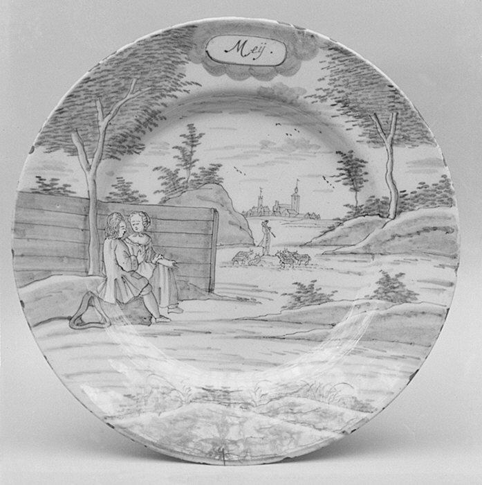 Plate (part of a set) Porcelain Axe (de Porceleyne Bijl)  Date: ca. 1764–88 Culture: Dutch (Delft)