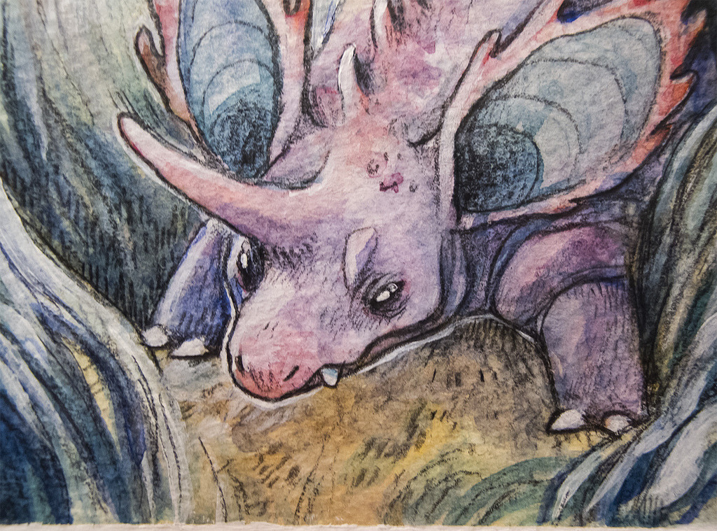 Nidoran, by the incredibly talented and lovely Emily Partridge. The detail is so breathtaking in real life, the photo barely does it justice. Pokémon Battle Royale Light Grey Art Lab | Minneapolis, Minnesota