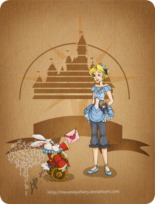 becausesometimesdreamsdocometrue:  Alice and the White Rabbit steam-punkified by MecaniqueFairy.