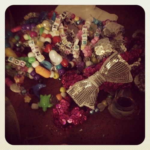 My #edcvegas pile after two days… #kandi #craft time!  (Taken with instagram)