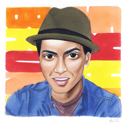 Another portrait of a famous person ;P This time it's Bruno Mars! My very first pro marker-portrait.