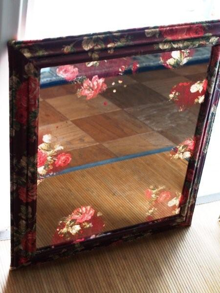 DIY Anthropologie Inspired Mirror: Cover the frame in a floral fabric using modpodge. To get the see through/ faded look, follow Flamingo Toe's tutorial! (The similar mirror at Anthro is $500!)