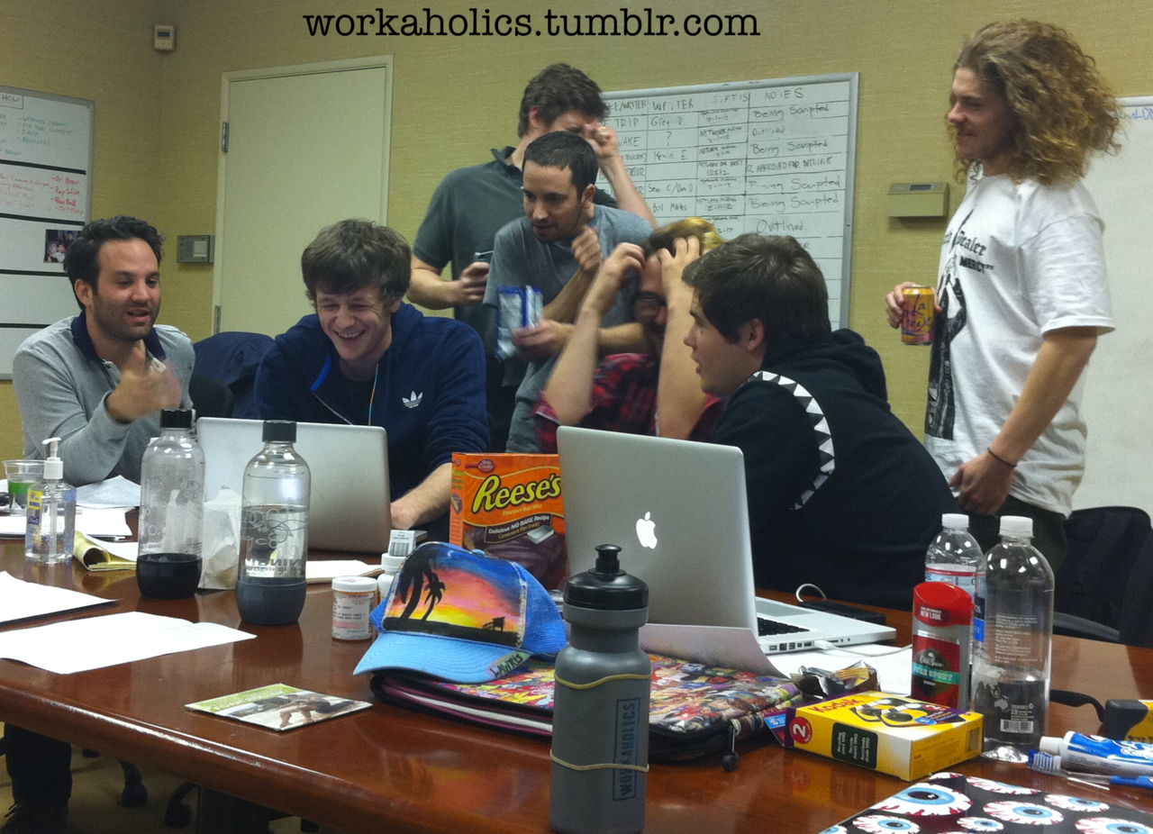 workaholics:  Several members of the Workaholics writing staff crank down on Season 3.