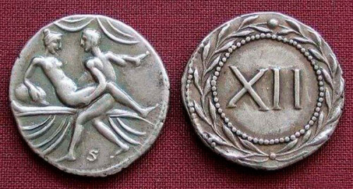 "These are Latin spintria, coin-tokens, or simply put - brothels coins, which were used in ancient Rome as a means of calculating the internal revenue of a given brothel and more specifically, to see which services were solicited the most from which prostitutes. To achieve these images depicted, artists were brought to sit-in as ""guests"" of the brothels, crammed in already uncomfortably small rooms, to fresco the erotic content seen. Due to the large numbers of foreigners arriving in Rome, many of whom did not speak the local language, spintriae served as a fast and efficient, readily understood contract between the client and the service of his courtesan. One side of the bronze minted coin showed what the buyer wanted and on the other side was the point value of the desired services price list. Brothel chips are indeed very popular collectors items to present day and carry a high auction price. Due to this high demand for these numismatic coins on the market, many modern forgeries have been attempted."