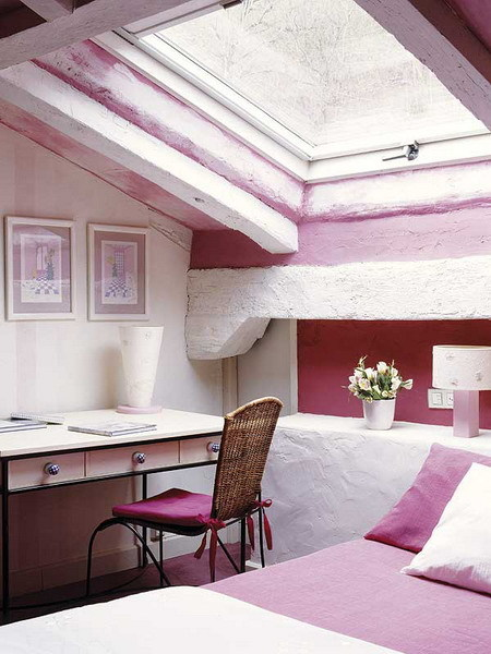 cool pink attic bedroom
