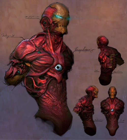 thismonkey:  gowebgo:   concept art by retrovenus miravis what if tony stark was a genetic engineer instead??  Thank God he isn't.  It doesn't matter because Carnage would have this look covered if he possessed Ironman.  Too bad Carnage never fought Stark in his Extremis phase. Nanettic Carnage? That'd probably level New York (again).