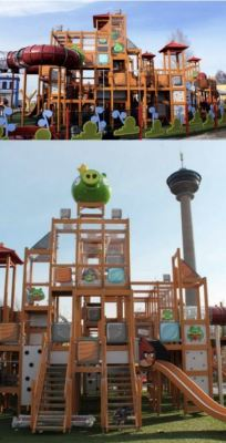 What appears to be an Angry Birds playground.