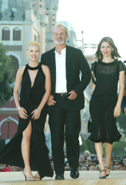 suicideblonde:  Scarlett Johansson, Bill Murray and Sofia Coppola at the Venice Film Festival premiere of Lost in Translation in 2003