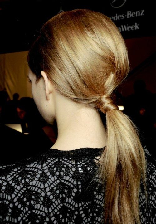 low pony tail with voluminous crown