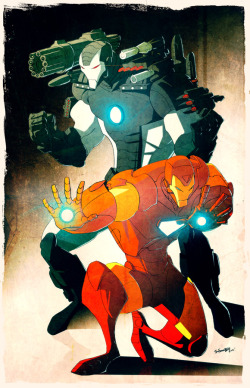 Iron Man & War Machine sketch by Jerry Gaylord. November, 2010.