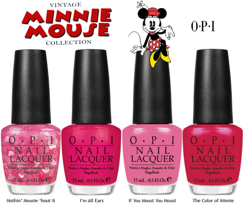 "OPI launches Vintage Minnie Mouse, including four limited edition nail lacquers, for summer. Created in honor of Disney's beloved character, the colors encapsulate Minnie Mouse's irresistible charm in playful, pretty shades of pink and red.    ""OPI is so excited to collaborate with Disney and draw inspiration from one of the world's most popular characters,"" explains Suzi Weiss-Fischmann, OPI Executive VP & Artistic Director.  ""This collection brings together the expertise of OPI and the iconic style of Minnie Mouse to inspire the distinct palette of vibrant, feminine shades for summer Nails will pop against summer skin in these classic, saturated hues – holding their own alongside the bold prints of the season."" The line features a pink crème lacquer, one frosted red shade, a shimmery fuchsia, and a heart glitter confetti: Nothin' Mousie 'bout It - Don't squeak it – SHOUT IT! This confetti light pink is tops!  I'm All Ears - Tell me how much you love this magenta shimmer.  If You Moust You Moust - You gotta pink what you gotta pink. The Color of Minnie - You had this little mouse at ""red."" As with all OPI nail lacquers, Vintage Minnie Mouse by OPI contains no DBP, Toluene, or Formaldehyde, and features OPI's exclusive ProWide™ Brush for the ultimate in application. This limited edition promotion will be available beginning June 2012. Suggested retail price for the nail lacquer is $8.50 (USD) per bottle. For more information, please call 800-341-9999 or visit opi.com. I can't even tell you how long I've been waiting for this collection! All the colors are so adorable and very Minnie. If I had to pick a favorite just from looking at the press release, it's definitely I'm All Ears. How much do you love this collection?"