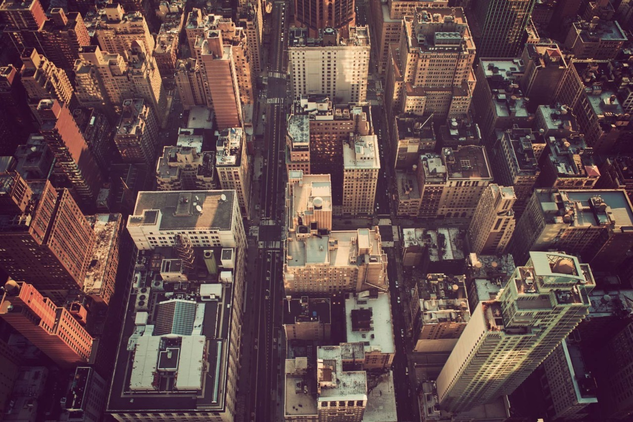 NYC roofs from above.