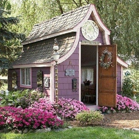 purple garden shed