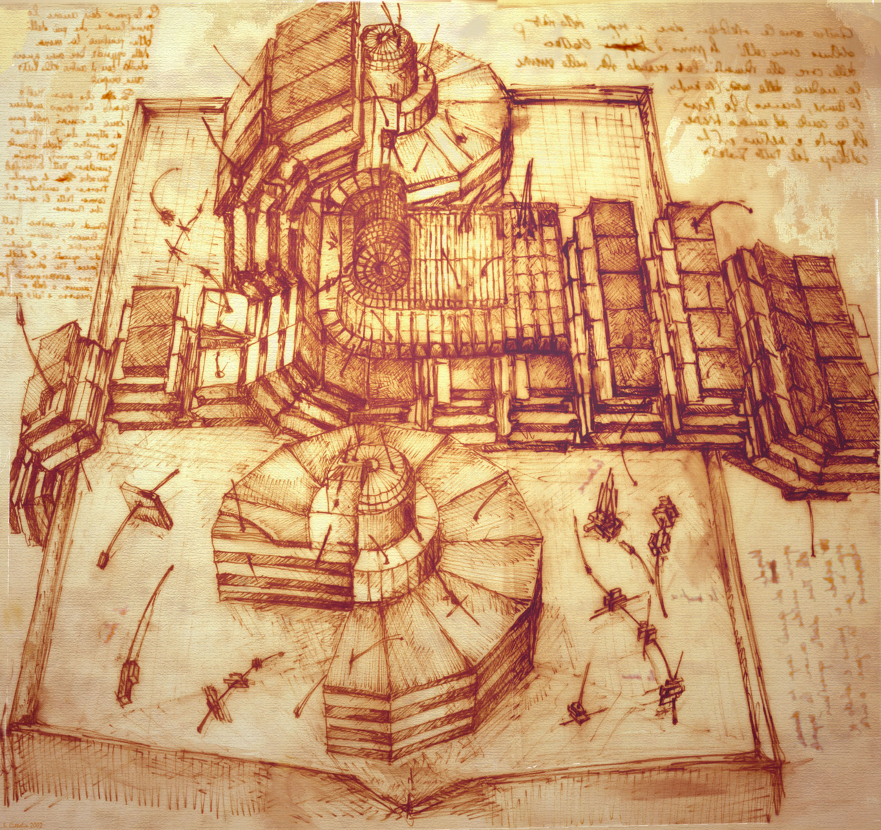"Drawings of the Large Hadron Collider at CERN, in the style of Leonardo da Vinci Amazing drawing of the LHC at CERN by Dr. Sergio Cittolin in the style of Leonardo Da Vinci.   Dr. Cittolin has worked at CERN for the past 30 years as a research physicist.  The idea, according to the physicist, was to simply ""present the idea of data analysis to the world within the naturalist world of Leonardo.""  You can view the full gallery at the source link."