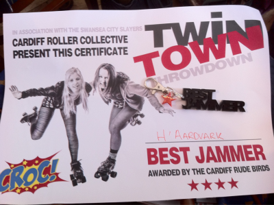 This is a little bit late!  But anyway I won best jammer when we played CRoC on the 26th May.  Look at the freaking kick ass key ring that was the prize!