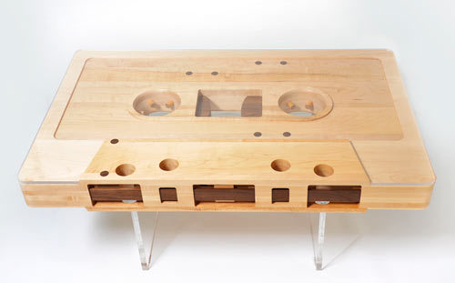 presive:  Check out this cool coffee table by Jeff Skierka, made of reclaimed maple, walnut and Lucite. It's even reversible, like a real cassette tape!