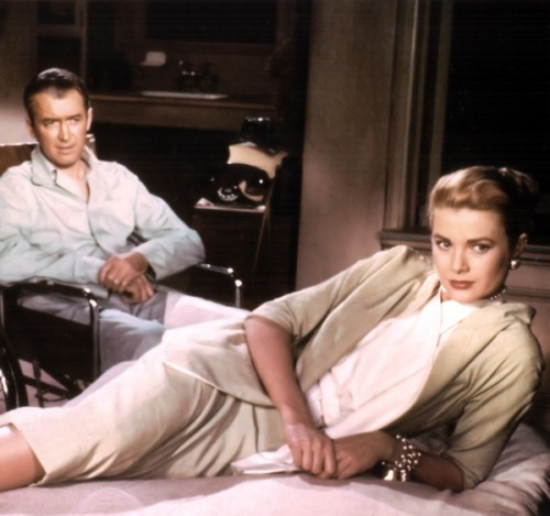 theniftyfifties:  James Stewart and Grace Kelly in 'Rear Window', 1954.  One of my favourite movies ever… what Hitchcock did with the sound in this movie is absolutely amazing…