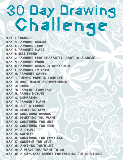 This is probably old to many of you…but…I am going to do this 30 Day Drawing Challenge!