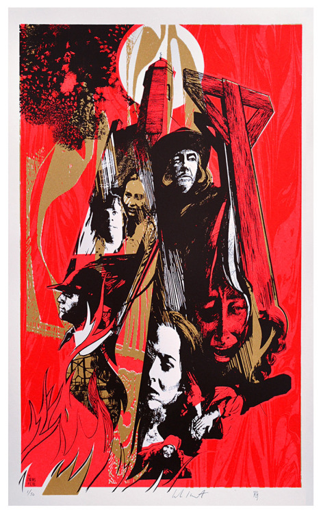 kenngoodall:  The Twins of Evil 'Witchfinder General' print is now available - >http://twinsofevil.bigcartel.com/ DON'T MISS OUT! 370mm x 594mmMetallic gold / fluorescent red / matt black 3-colour screenprint300gsm Snowdon Acid-Free Cartridge Paper Edition of 50 Signed & numbered by the artists - Luke Insect & Kenn Goodall