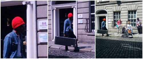 nialler9:  Andre 3000 watching some buskers in Dublin. via Emmy_c  This is an odd picture, as if andre 3000s busking space had been taken. Andre is about due to him filming the Hendrix biopic, which as of yet has no rights to any of the back catalog, however I am very much looking forward to it.