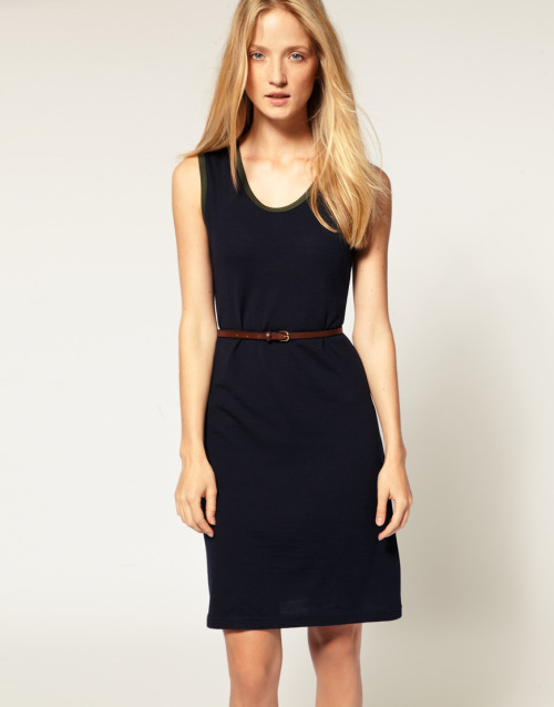 Sunspel Contrast Binding Mid Length Dress with Leather BeltMore photos & another fashion brands: bit.ly/JhxJzz