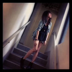 . top by miumiu/ shorts by mango/ denim shirt by gap/ boots by venilla suite .