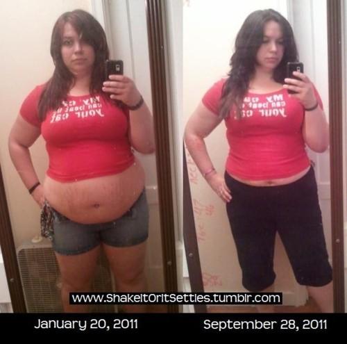 "tummytransformation:   My journey so far. I don't starve myself. I don't go to group meetings or pay membership fees. I don't take diet pills. I don't hate myself. I don't do fad diets. I don't throw-up.  I do eat lots of small meals during the day. I jog the Couch to 5K Running Plan 3 times a week. I do avoid sugary sodas. I do play Dance Central on xbox kinect. I do treat my body with respect. I do surf the internet for inspiring ""fitspiration"" and NOT ""thinspiration"". I do drink water more than I used to.  If I can do this in a healthy way anyone can.  You go lady, this is amazing progress!!"
