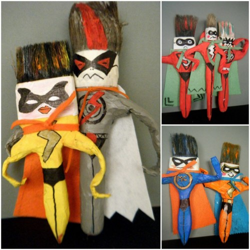 rainbowsandunicornscrafts:  DIY Inspiration: Paintbrush Super Heroes Created by Children. From Mini Taller d'Art on Facebook here.  Truebluemeandyou: I actually follow Mini Taller d'Art on Facebook because they come up with the best kids' projects that I can actually see some artist making and putting in a gallery. Truly.